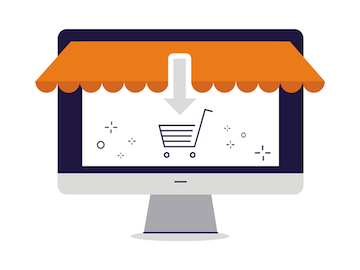 Icone de synchronization de boutique en ligne tel que Shopify, Ebay ou bien Amazon